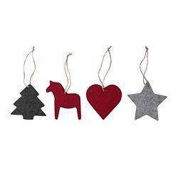 VINTER 2016 Hanging decoration, set of 4, felt red, grey - IKEA