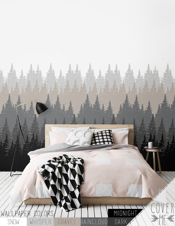 Removable Forest  Wallpaper / Self Adhesive Wallpaper / Nature Wall Mural / Tree Wall sticker - CM005