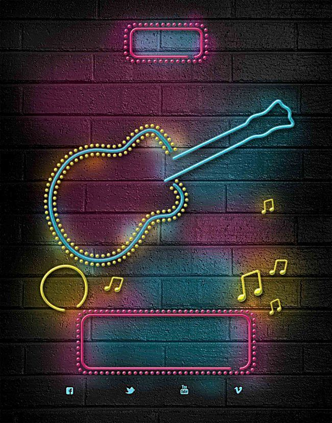 Music Notes Neon Guitar Poster Background Material