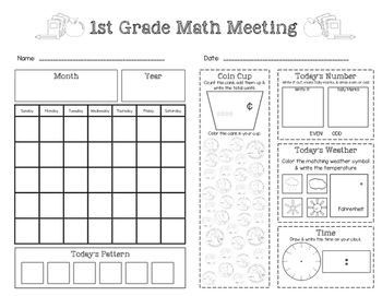 Saxon Math Meeting Worksheet (Grade 1) FREEBIE!  Visit www.littlelearninglane.com for more fun ideas & free printables!