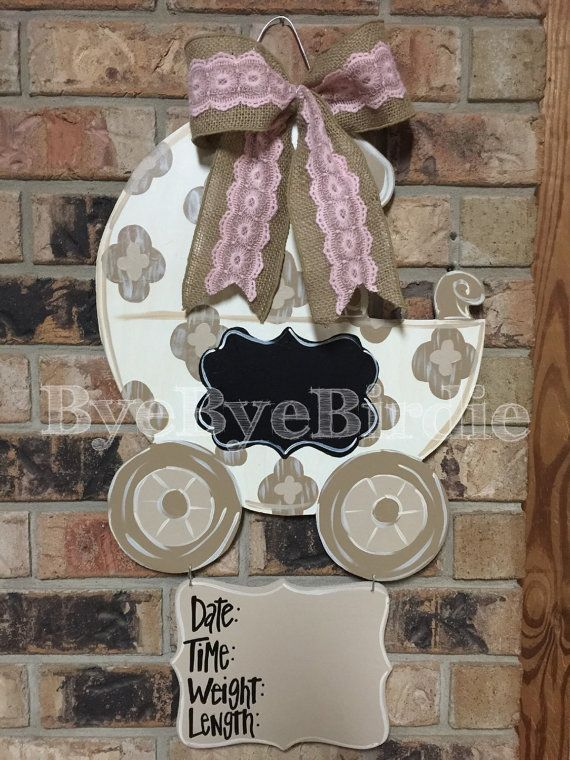 Baby Oh Baby by Louisianabluebird on Etsy - gender neutral door hanger.  Comes with pink & blue bow