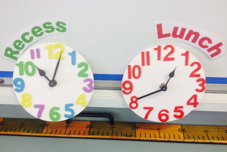 I made clocks to show when recess and lunch take place!