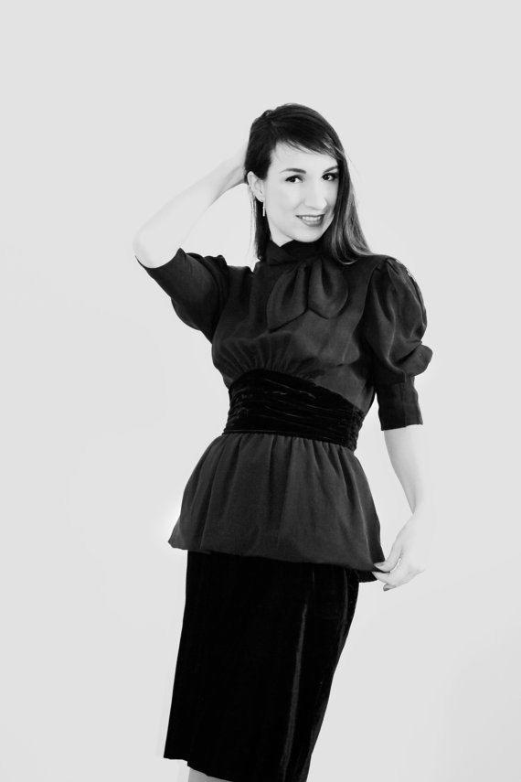 Velvet Dress / Escada Dress/Vintage High Fashion Dress/Haute