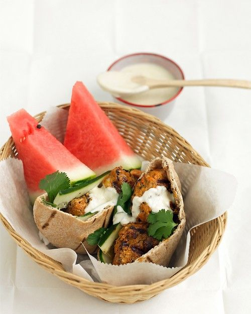 Tandoori-Style Chicken Burgers - Martha Stewart Recipes - I would make this as skewers, not ground. #EATHEALTHY #ATB #YCH