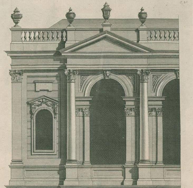 """A Book of Architecture"""" di James Gibbs, edizione del 1739. source: Dottrina dell'Architettura https://www.facebook.com/1374492636118546/photos/a.1374494322785044.1073741828.1374492636118546/1620330538201420/?type=1"""
