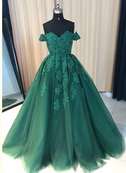 Great Off Shoulder Emerald Green Lace A line Long Custom Evening Prom Dresses by RosyP…