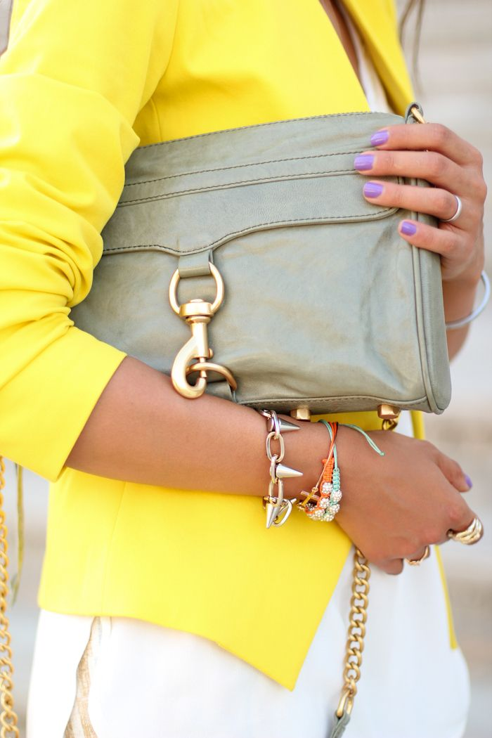 : Fashion Outfit, Color Combos, Rebecca Minkoff, Clutches, Purple Nails, Nails Color, Nails Polish, Bags, Yellow Blazers