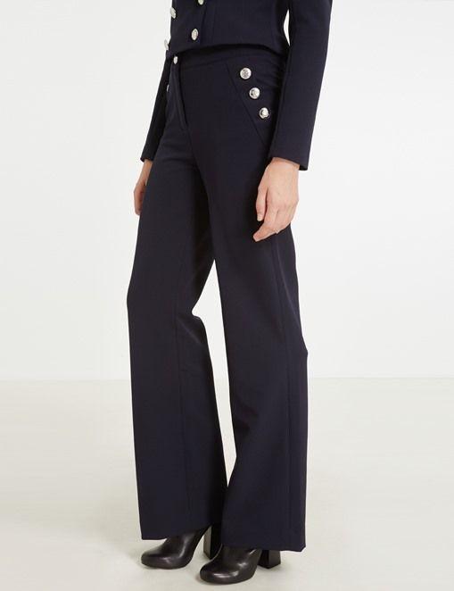 Pantalon Morgan, achat Pantalon large à pont à boutons Morgan pas cher prix Boutique Morgan 65.00 €