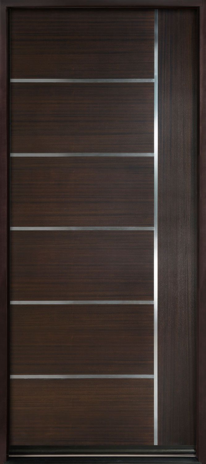 Villa main door solid wood security villa double leaf door design - Entry Door In Stock Single Wood With Walnut Finish Modern Euro Collection