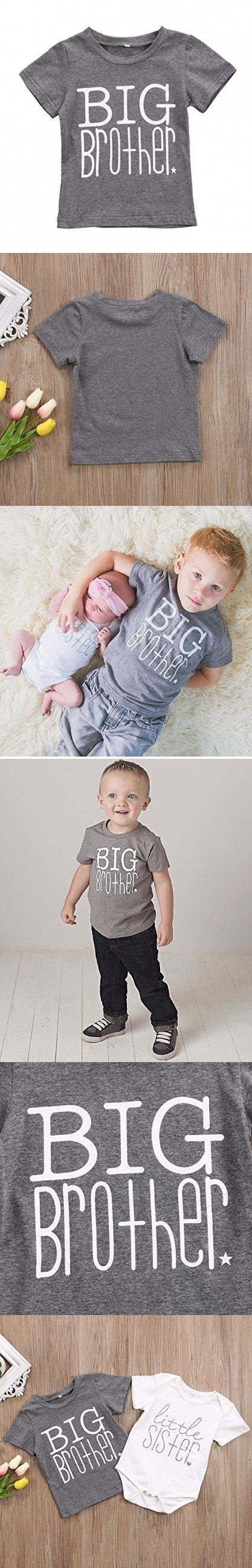 Little Brother&Big Brother&Little Sister Print Arrow Pattern Romper& T-shirt Tee Tops (1-2 Y, Gray (Big Brother))