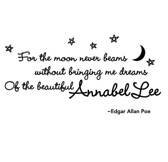 And the stars never rise, but I feel the bright eyes of the beautiful Annabel Lee.