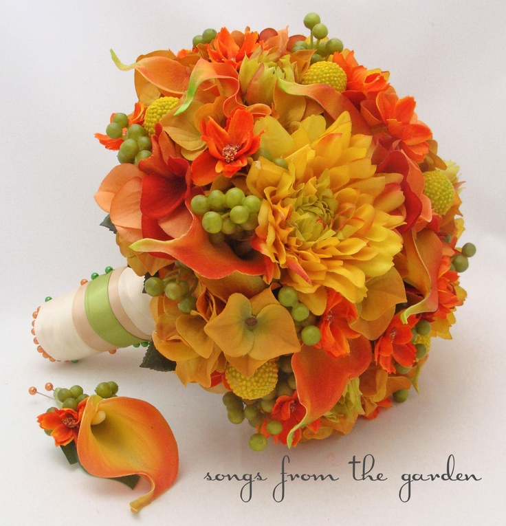 Autumn Wedding Bridal Bouquet and Groom's Boutonniere Calla Lilies, Dahlias, Berries, Cosmos in Fall Colors. $250.00, via Etsy.
