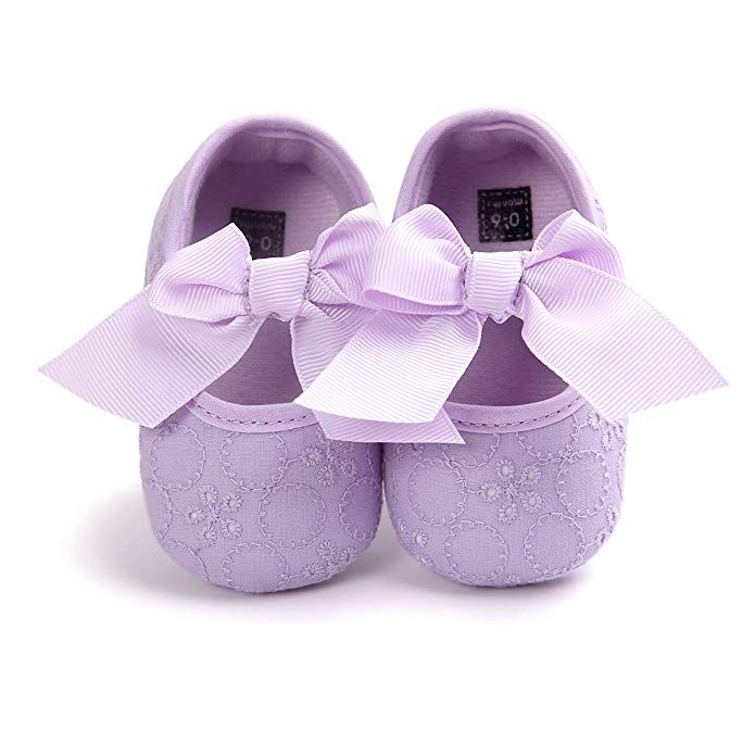 Infant Baby Girl Bowknot Heart Hollow Out Mary Jane Shoes Soft Crib Shoes