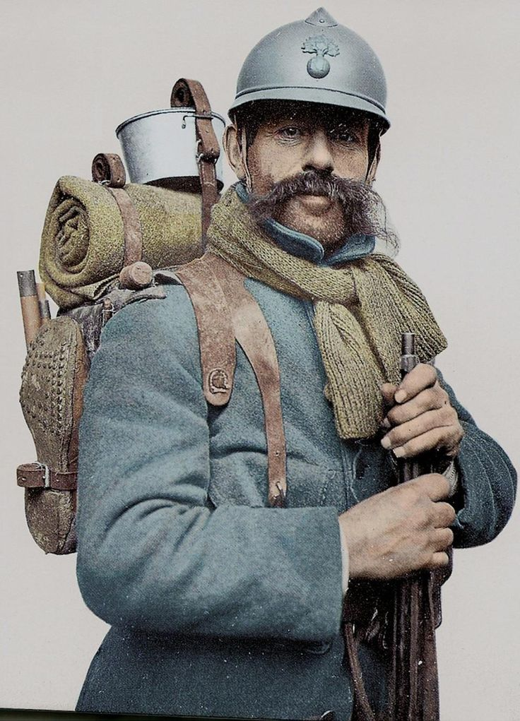 "Poilu (Fr: pwa-ly) an informal term for a French infantryman, meaning, literally, ""hairy one"". It is still used as a term of endearment for the French infantry of WWI. The word carries the sense of the infantryman's typically rustic, agricultural background. Beards and bushy moustaches were often worn. The poilu was particularly known for his love of pinard, his ration of cheap wine."