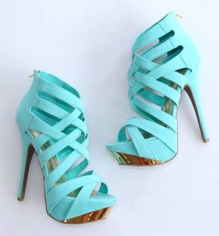 Gorgeous Blue Leather High Heel Shoes- I might wear them everyday!