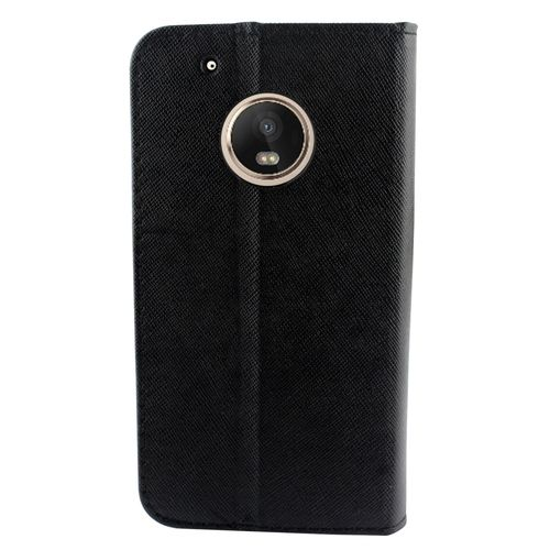 Wallet Fold [ Black ] PU Leather Cover Case For Motorola Moto G5 Plus /XT1685 Cellphone