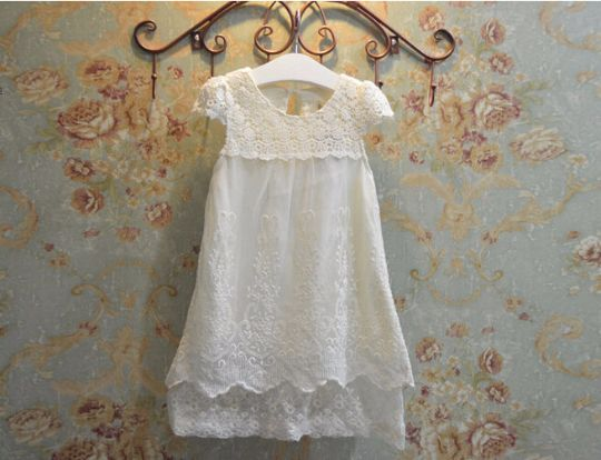 Vintage Ivory Lace Flower Girl Dress