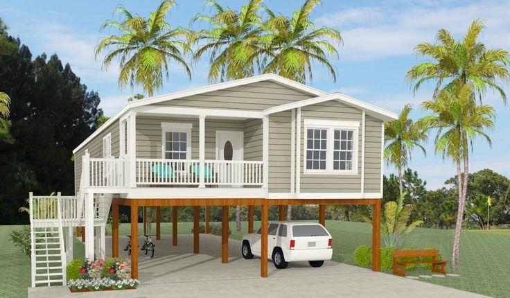 Exterior rendering of Jacobsen Home model TNR-6481B raised on stilts