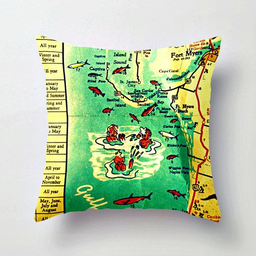 Map Pillow | Sanibel Island  Ft Myers Florida Beach House | Decorative Throw Pillow Cover  | Retro Way Cool Pillow | Vintage Map