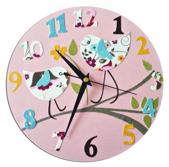 Bird Clock  Personalized  / Children's wall by WithHugsandKisses