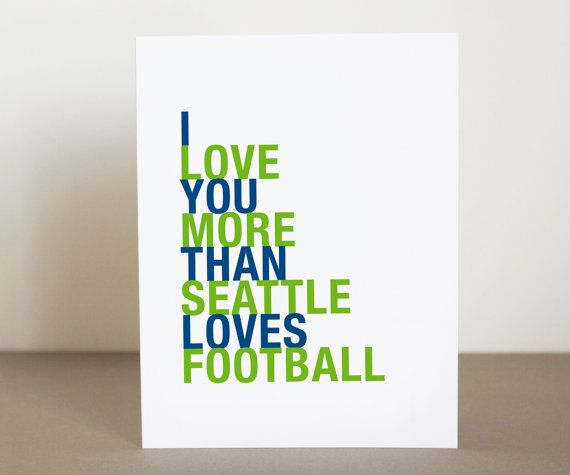 Seattle Football Valentine Card I Love You by HopSkipJumpPaper