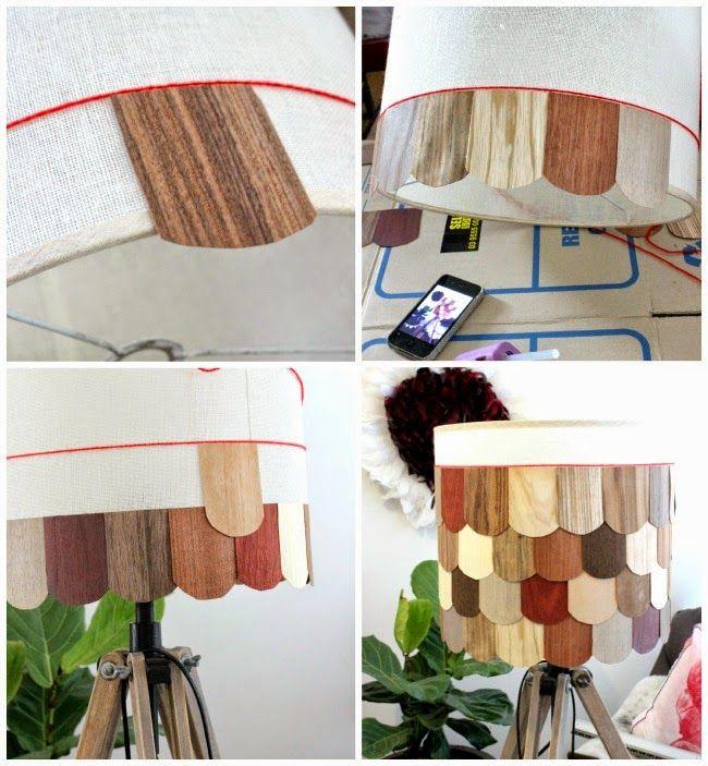 Diy shingle light shade using wood veneers lampshade for Wood veneer craft projects