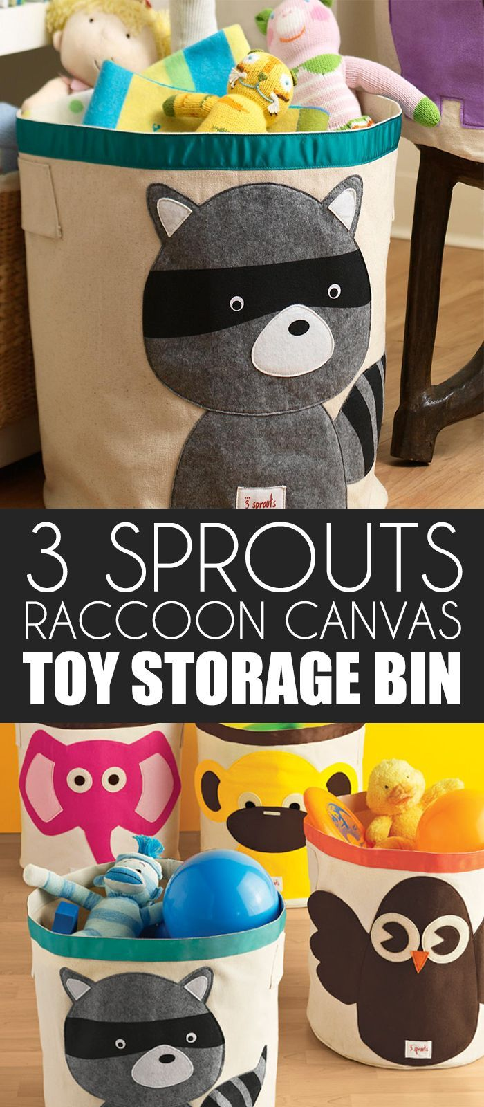 Raccoon Canvas Bin By 3 Sprouts Prevents A Child S Room From Turning Into A Zoo Use It To Stow Stuffed Animals Puzzles Toys Or Laundry It S Easy To Carry Fr