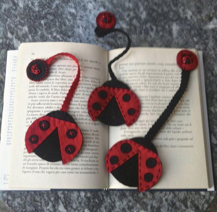 segnalibro in feltro con coccinella - Libri e schemi - Segnalibri -... | Misshobby