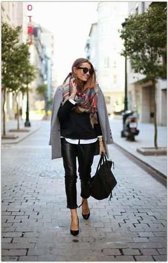 Winter Outfit Inspiration: Gray Coat and plaid scarf, worn with leather pants and heels. SO Chic!