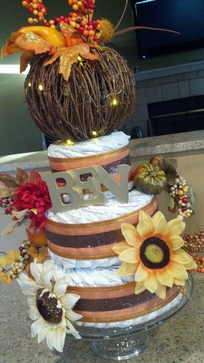 diaper cake for fall themed baby shower baby shower parties