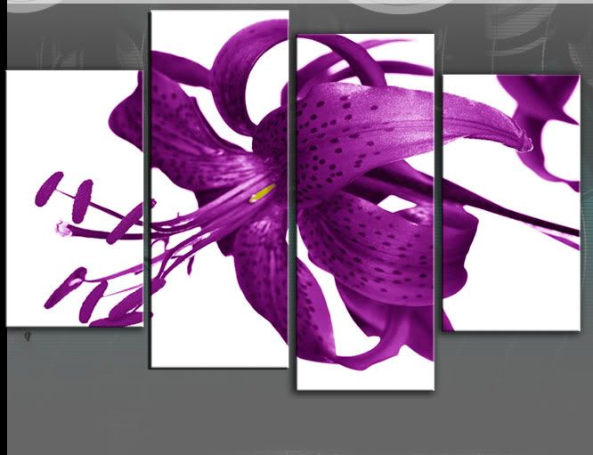Large Purple Tiger Lily Flower Canvas Picture Wall Art