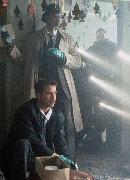 Brad Pitt, Morgan Freeman in Se7en (1995) dir. David Fincher