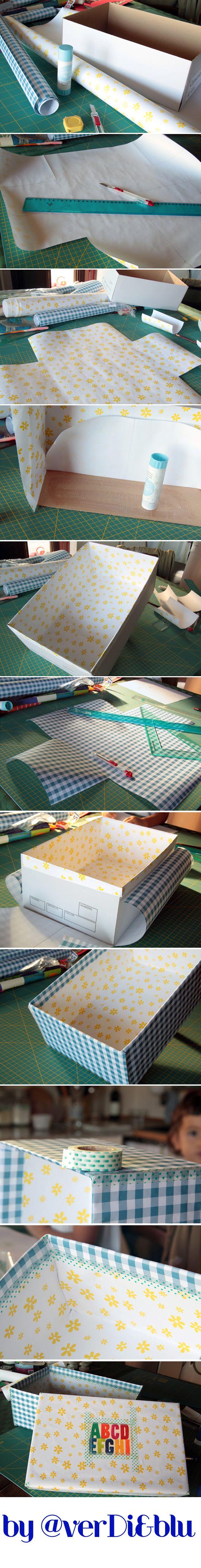 rivestire una scatola di scarpe con la carta  