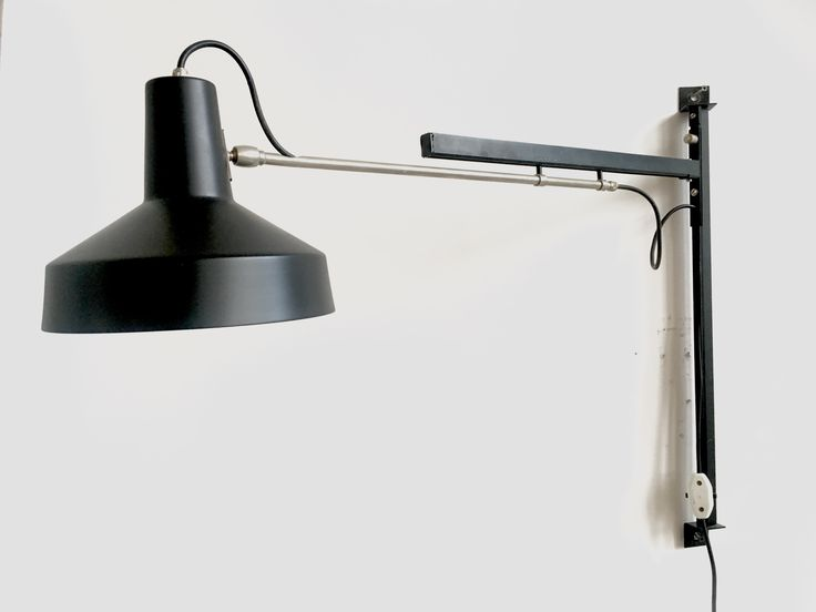 Adjustable Telescope wall lamp, designed and manufactured by Hiemstra Evolux in 1950.  Extendable arm: 60-100cm