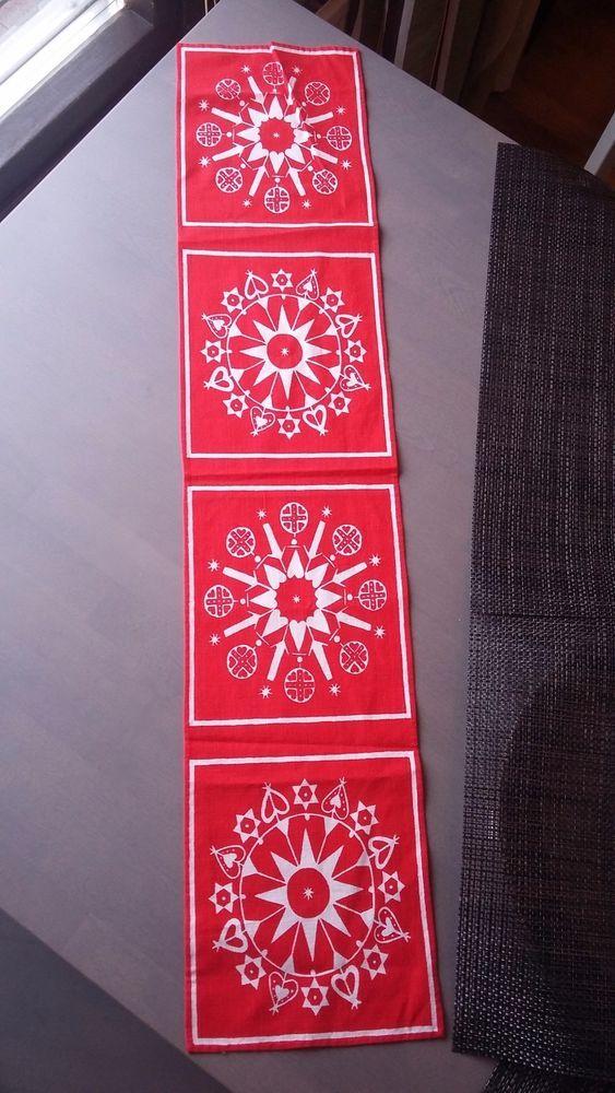 Vintage Finland Scandinavian Red White  Christmas Runner