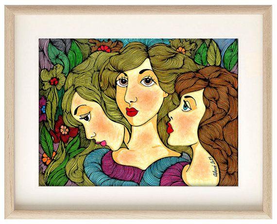 Girls in the garden poster, girls home decor, girls wall art, girls art print, Shawl poster, girls illustration, Professional Digital print