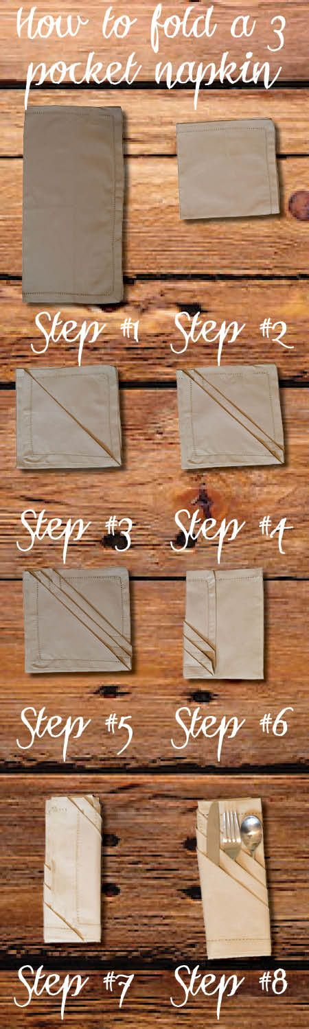 Step by step tutorial on how to fold a 3 pocket napkin. This will make your holiday table look so fancy.
