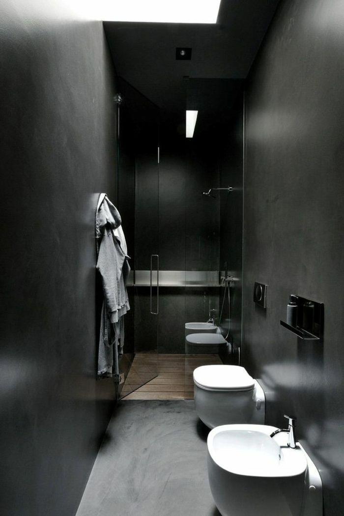 wandfarbe schwarz kleines bad dusche glaswand
