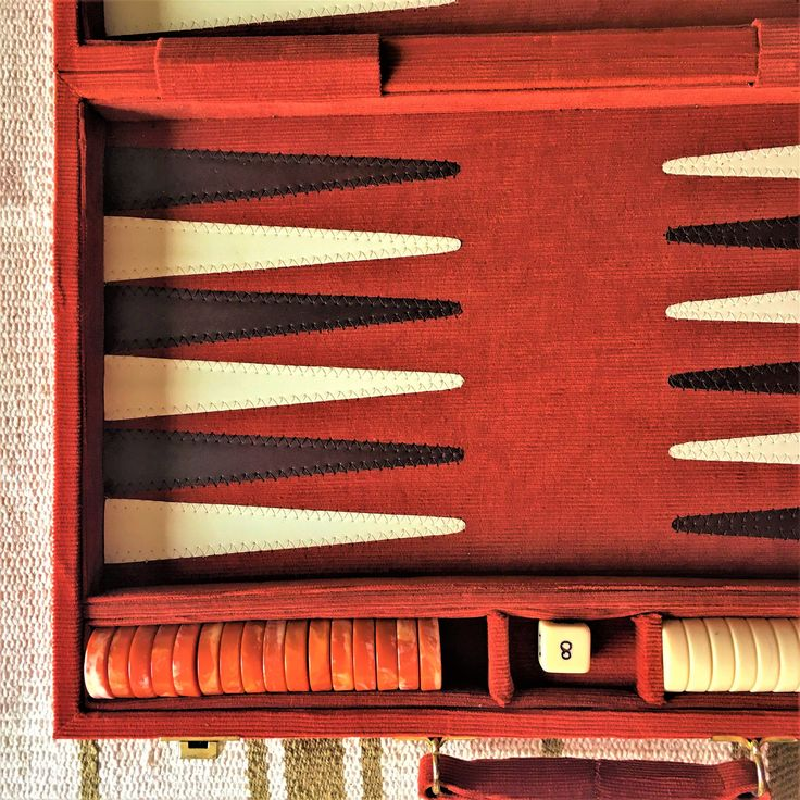 UPDATE - SOLD!   Vintage corduroy backgammon set (marble checkers, wood dice, and doubling cube)!  Fantastic vintage condition, burnt orange and chocolate! by AnnaAndAloysius on Etsy