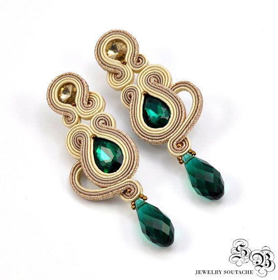 Beige crema Orecchini Soutache orecchini di SBjewelrySoutache