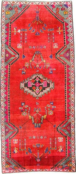 4' 5 x 10' 1 Red Hamedan Area Rug