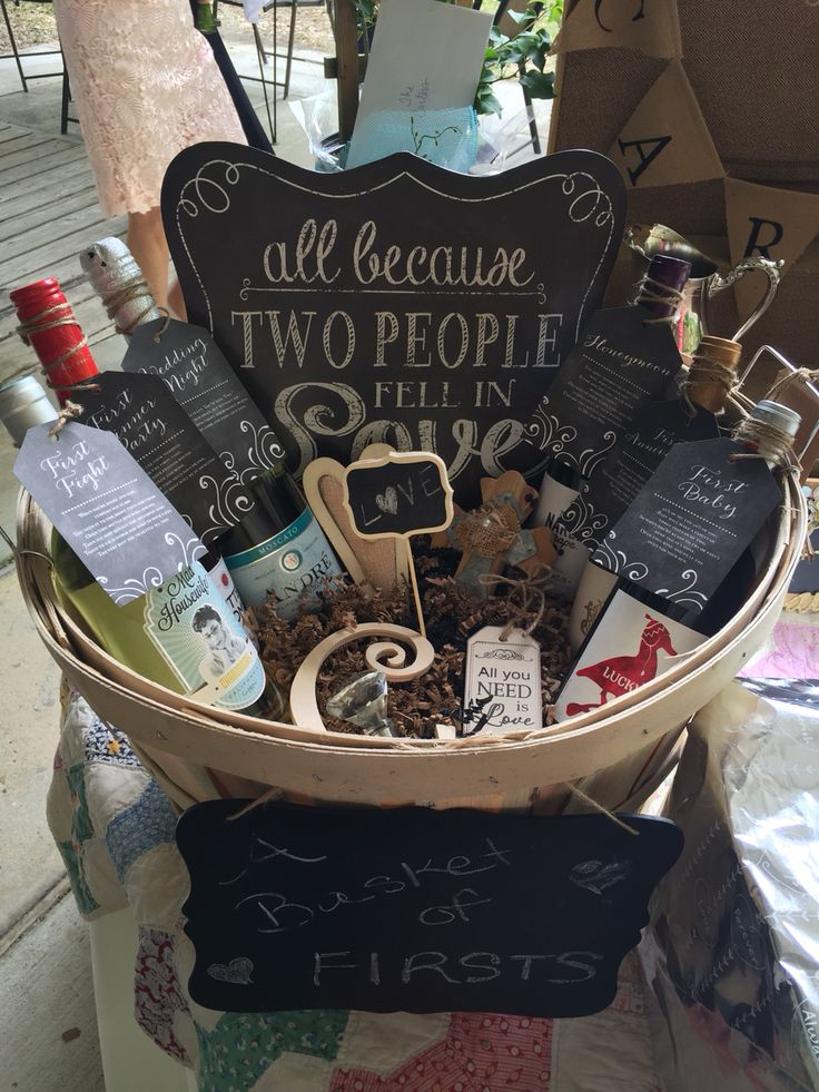 Bridal Shower Wine Gift Basket Ideas : basket of Firsts- wedding or bridal shower. The basket,