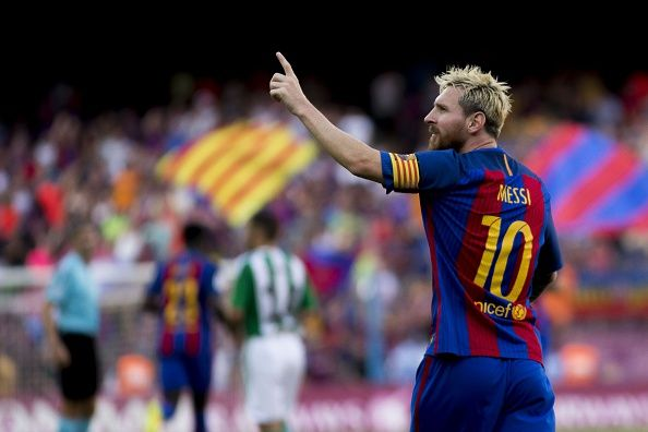 Barcelona's player Leo Messi celebrates after scoring a goal during the Spanish…