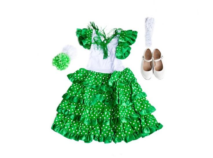 Spaanse jurk pakket Señorita groen/wit  NIEUW + GRATIS haarband + GRATIS Bloem