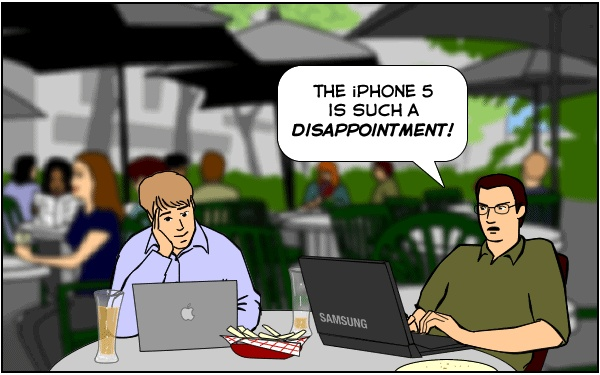 Some of you might be raving about the new iPhone 5, but not our friends Nitrozac and Snaggy of The Joy of Tech.