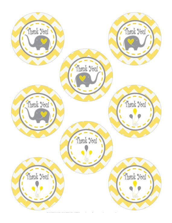 DIY Thank You Chevron Tag, DIY Elephant Thank You, DIY Elephant Tag, Printable Elephant Favor Tags, Thank You Yellow Tag - Printables 4 Less