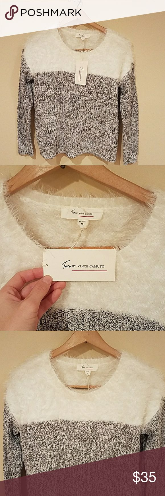 Vince Camuto Sweater MAKR OFFER! Has original Vince Camuto tag, missing store tag (still has plastic tag stick attached). White eyelash effect on top. Knit yarn on bottom.  White and grey/black on bottom. Sweaters