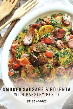 Smoked Sausage and Polenta with Parsley Pesto / Bev Cooks