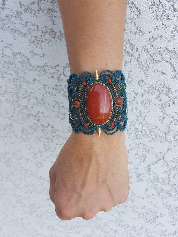 Cuff bracelet with jaspe red set brass – Micro-macramé – Ethnic Boho boho chic hippie tribal festival gypsy Rock'n'roll