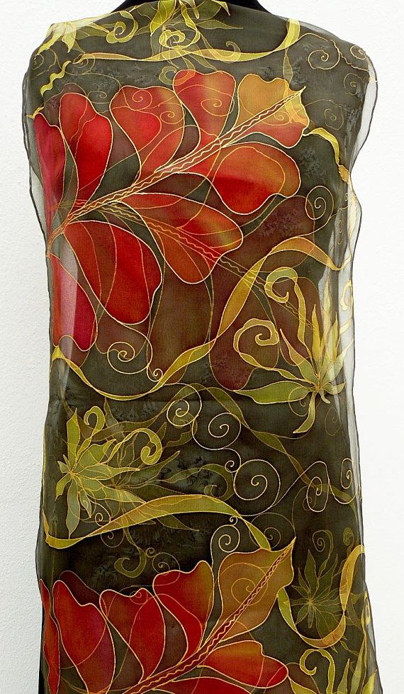Brown Chiffon silk scarf Handpainted long silk scarf sheer